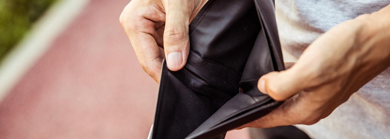 Geen geld in de portemonnee